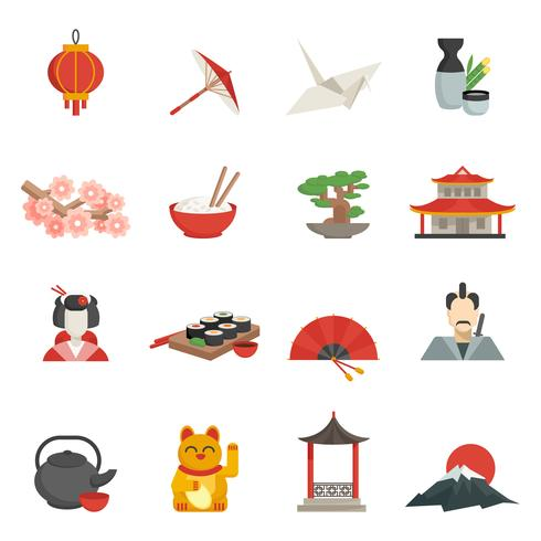 Japanse iconen vlakke set vector