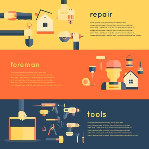 Home Reparatie Tools Banners vector