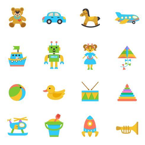 Speelgoed platte pictogram vector