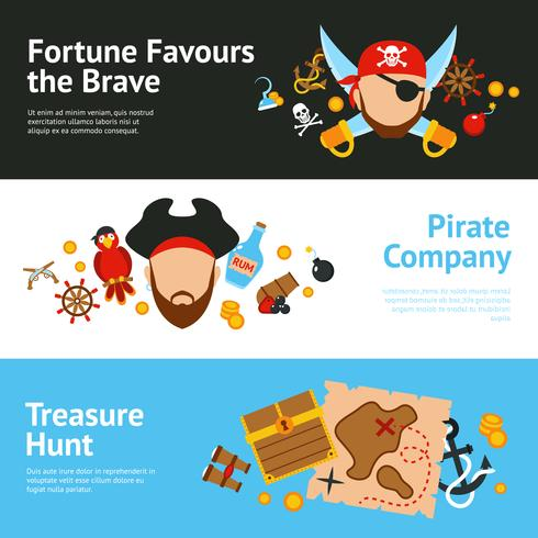 Geplaatste het concepten vlakke banners van de piraat vector