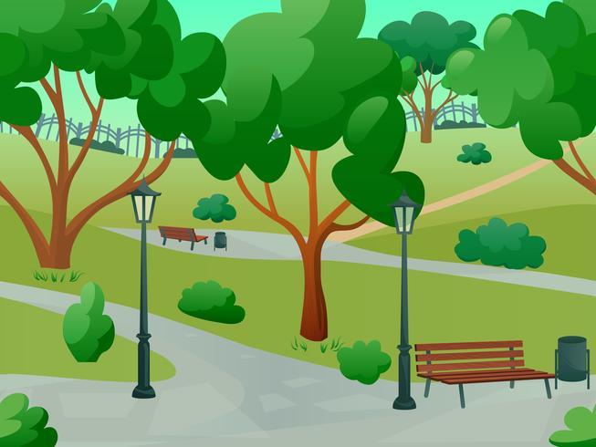 Parklandschap vlak vector
