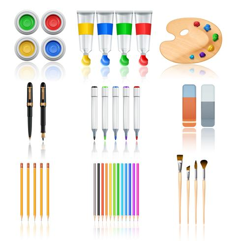 Hulpmiddelen voor tekenen en schilderen vector