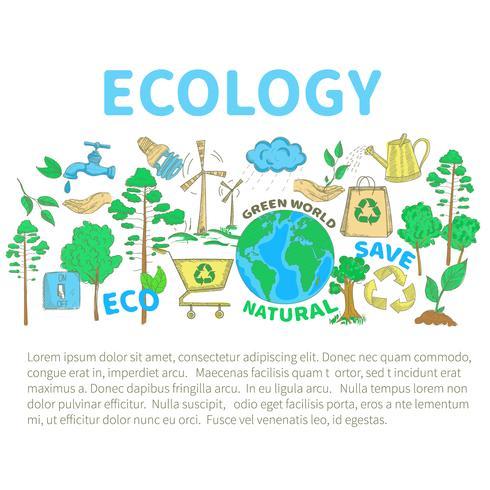 doodles ecologie set vector
