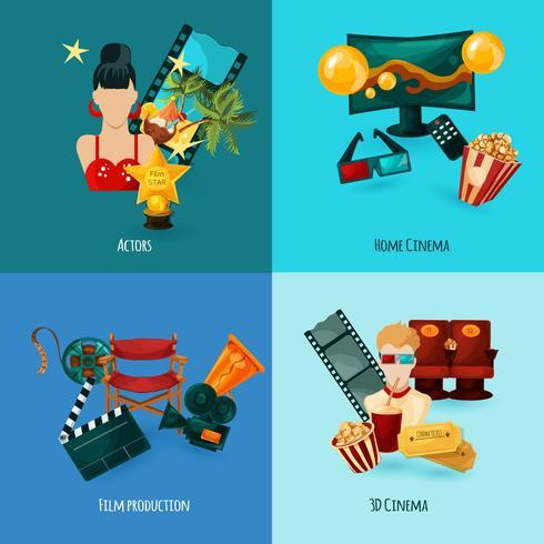 bioscoop cartoon set vector