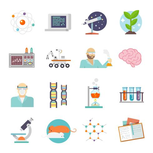 Wetenschap en onderzoek pictogram plat vector