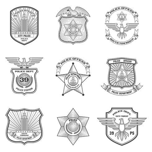 Politie emblemen Set vector