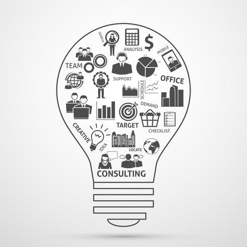 Zakelijk team management concept lamp pictogram vector