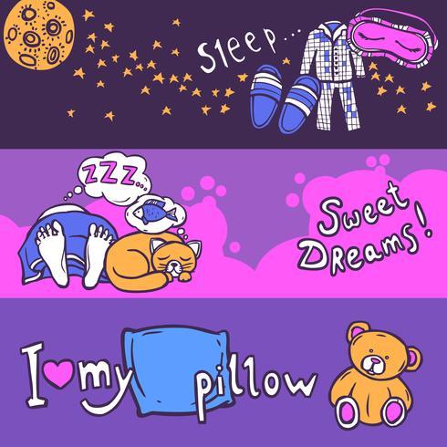 Slaaptijd-bannerset vector