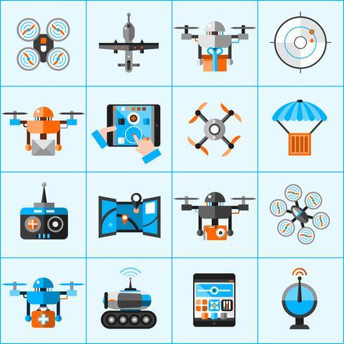 drone pictogrammen instellen vector