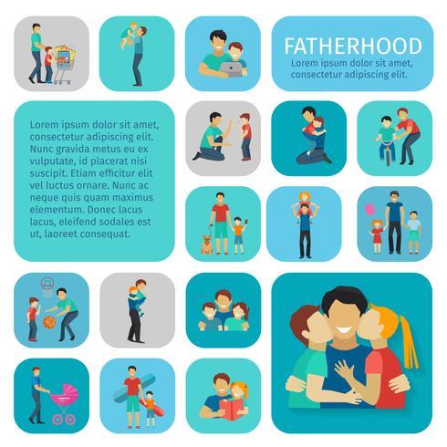 Vaderschap vlakke pictogrammen instellen vector