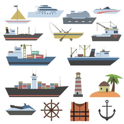 Schip platte pictogram vector