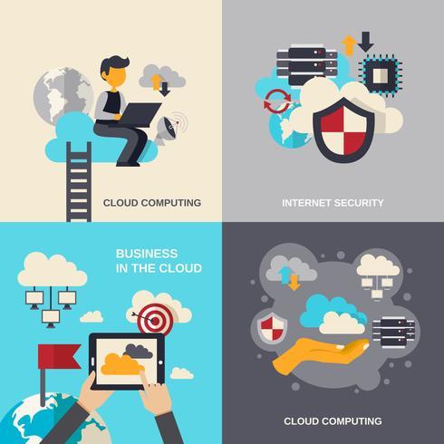 cloud computing flat set vector