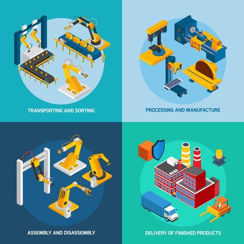 Isometrische robot machines vector