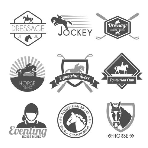 jockey label set vector