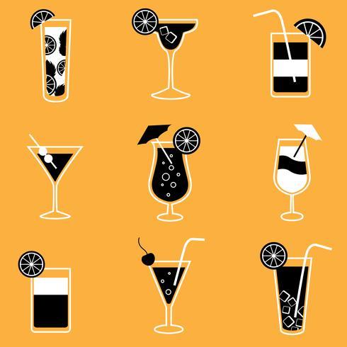 Verzameling van feestcocktails met alcohol vector