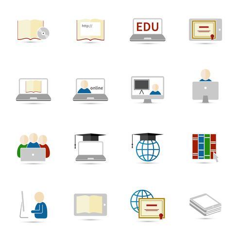 Online onderwijs pictogram plat vector