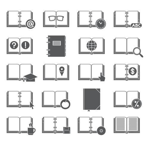 Boeken en symbolen Icons Set vector