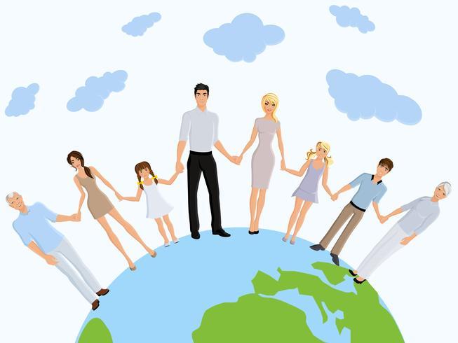 Gelukkige familie aarde vector