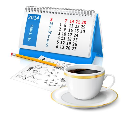 Kalender en zakelijke schets vector
