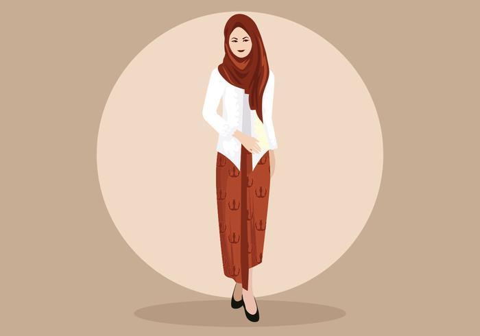 Vrouw die traditionele kebaya draagt vector