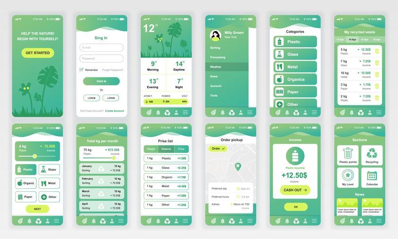 Set van UI, UX, GUI-schermen Ecologie app platte ontwerpsjabloon voor mobiele apps, responsieve website wireframes. UI-kit voor webontwerp. Ecologie Dashboard. vector