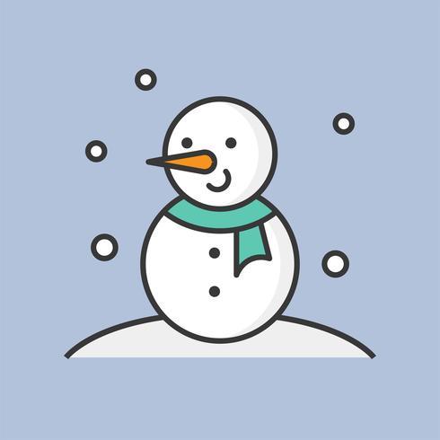 sneeuwpop en sneeuw vallen, gevuld overzicht pictogram voor kerst-thema vector