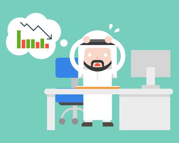uitgeput Arabische zakenman stress en paranoïde op kantoor vector