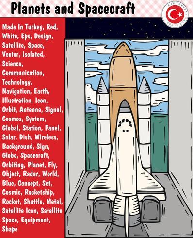 Planeten en ruimtevaartuigen, eps, vector
