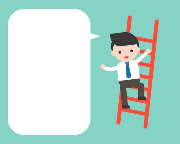 De zakenman beklimt op ladder en lege toespraakbel, bedrijfskarakter klaar te gebruiken vector