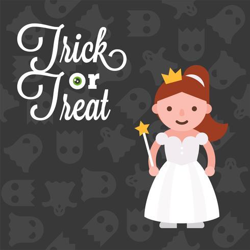 Halloween-karaktermeisje in engelenkostuum op spookachtergrond, vlak ontwerp vector