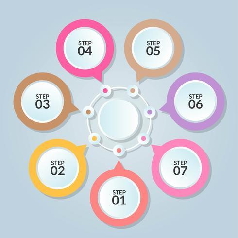 Infographicmalplaatje van cirkelverbinding voor gebruik in het diagram van het werkschemadiagram vector