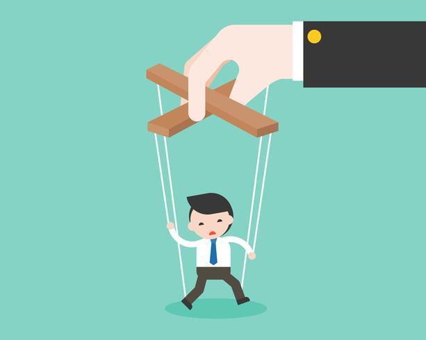 De grote hand manipuleert kleine marionet van zakenman vector