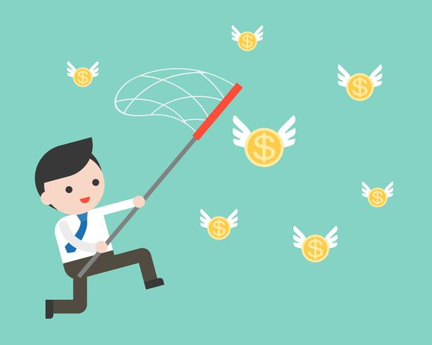 Zakenman gebruik net voor het vangen van vliegende gouden munten vector