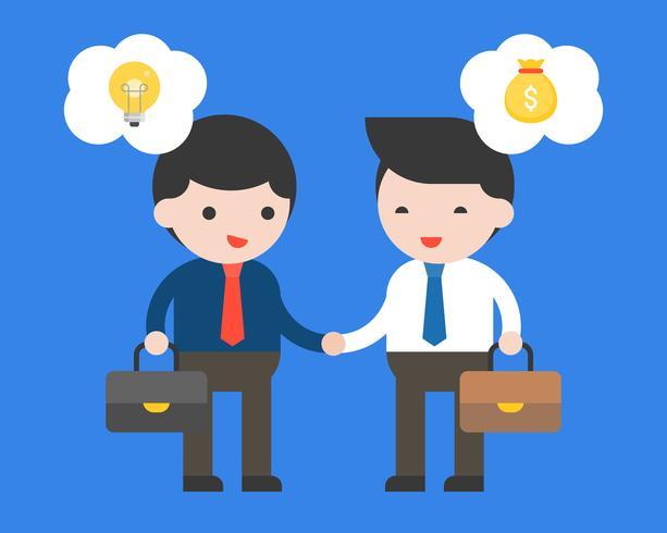 Twee zakenman maakt een overeenkomstencontract tussen idee en geld vector