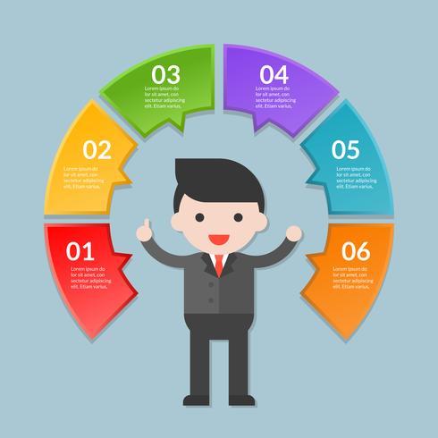 Infographicmalplaatje van stap of werkschemadiagram met zakenman vector