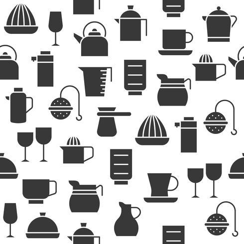 Silhouet keukengerei kopje, kruik, sap blender en glas, vector
