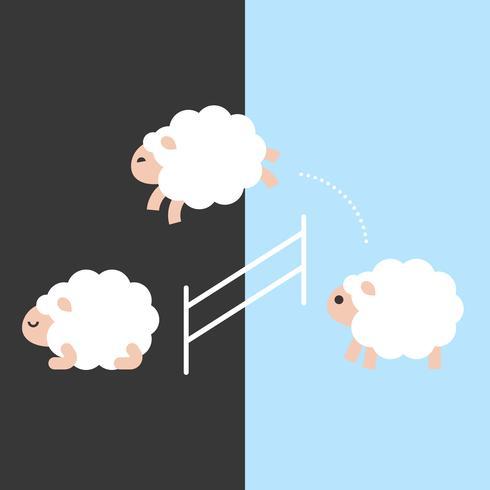 Leuke schapen die over een omheining tussen dag en nacht, vlak ontwerp springen vector