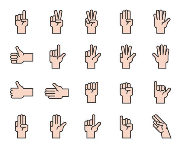 Hand tellen en handgebaar pictogram zoals like, liefde, vuist, gevuld overzicht pictogram vector