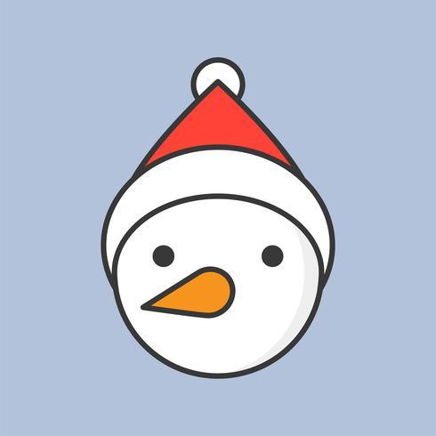 sneeuwpop met kerstmuts, gevuld overzicht pictogram voor kerst-thema vector