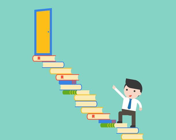 Leuke zakenmangang op stapel van boekenstappen aan de uitgangsdeur vector