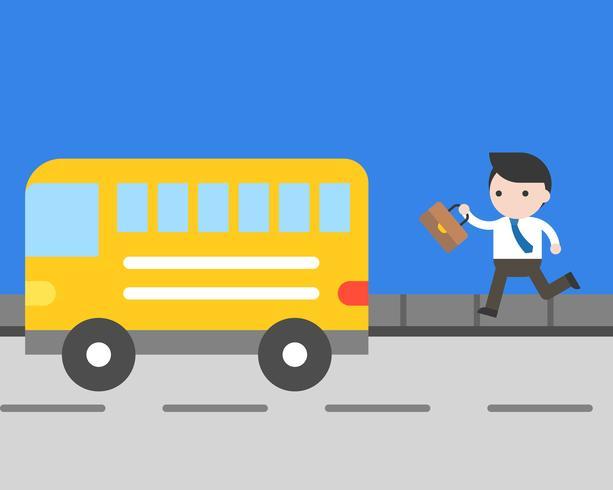 Zakenman die aan vangstbus lopen op weg, dagelijks levenconcept vector