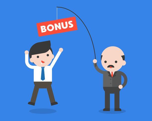 Baas of CEO met hengel met bonus voor vissers vector