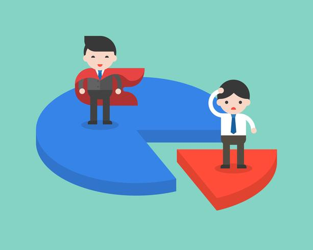 SuperBusinessman kreeg meer marktaandeel dan normale zakenman vector