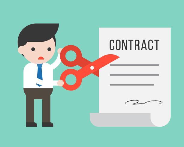 Zakenman die document van het schaar het gesneden contract, bedrijfssituatieconcept gebruiken vector