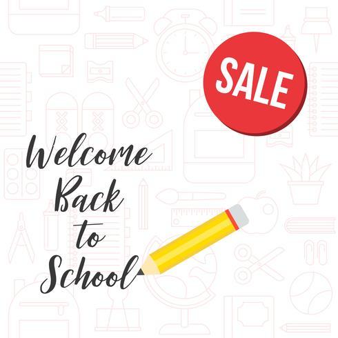 terug naar school verkoop poster op schoolbenodigdheden overzicht achtergrond vector