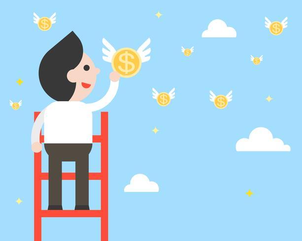De zakenman op ladder plukt vliegende muntstukken van hemel, vlak ontwerp vector