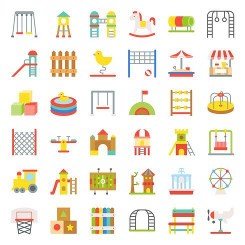 Speelgoed, speelplaats en ritten pictogram, platte ontwerp vector