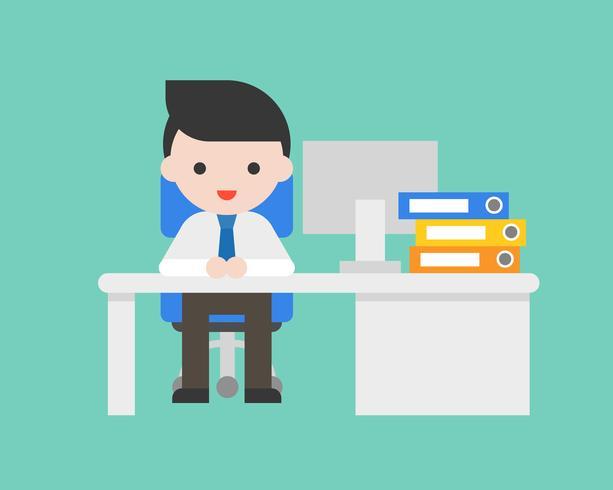 De bedrijfsmens zit op stoel met bureau in bureau en computer, vector