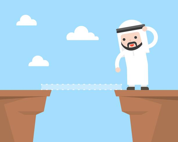 De leuke Arabische zakenman probeert manier te vinden om klip te kruisen omdat geen brug vector