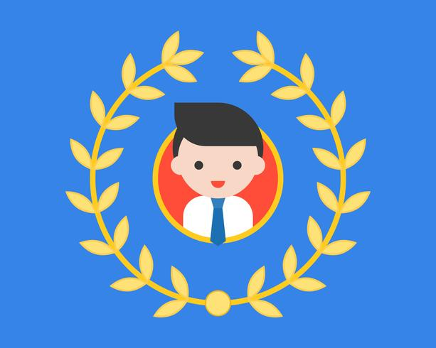 Glimlach mannelijke avatar in cirkelframe rond met kroon vector
